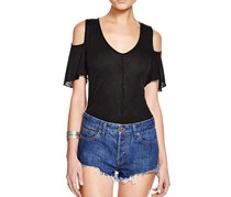 Free People Bittersweet Cold Shoulder Tee, Black