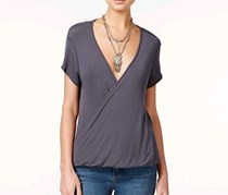 Women Hoffman Draped Crossover Top, Charcoal