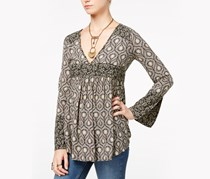 Free People Rolling Hills Printed Tunic Tops, Black Combo