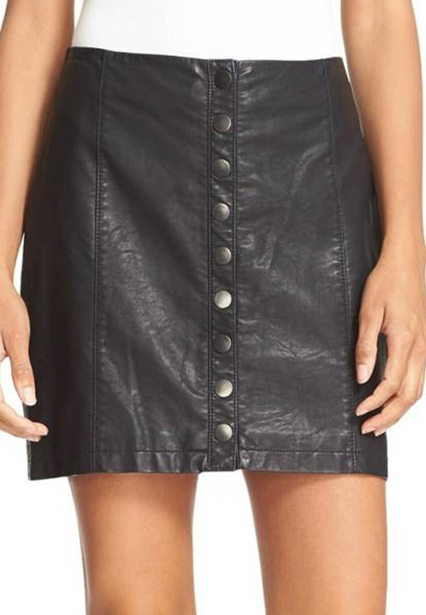 561af0434 Shop Free People Free People Oh Snap' Faux Leather Miniskirt, Black ...