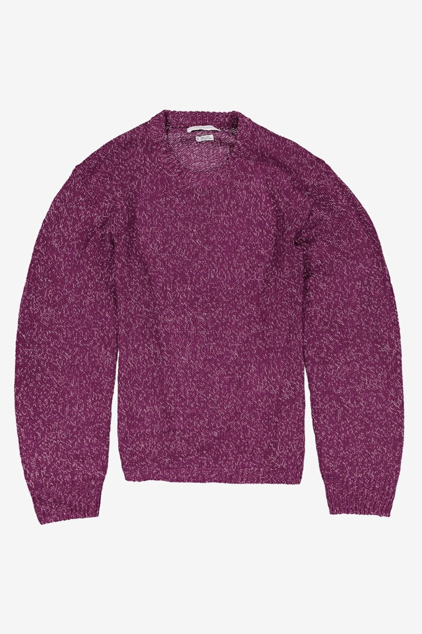 Men's Textured Sweater, Purple/White