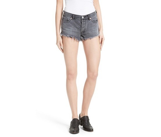 Women Soft Relaxed Cutoff Denim Short, Sulfur Black