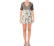 Free People Women's Mix It Up Floral Short Sleeve Printed Mini Dress, Ivory Combo