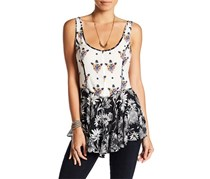 Free People Mixed-Print Fit Flare Camisole, Black Combo