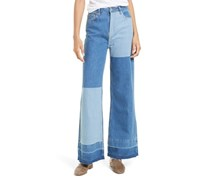 Free People Cotton Patchwork Jeans, Blue Wash