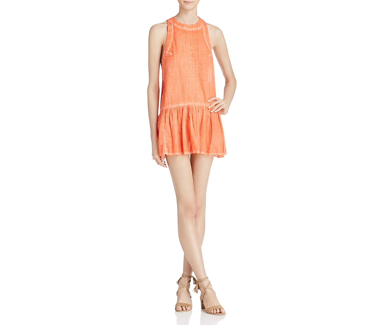 Free People Breathless Moments Cotton Drop Dress, Coral Red/Peach