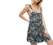 Free People Dear You Printed Mini Dress, Blue Green Combo