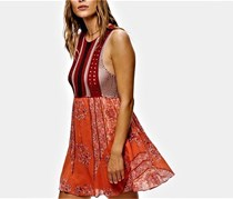 Free People Katie Crochet-Bodice Mini Dress, Medium Red Combo