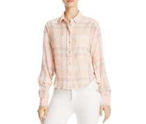 Cotton Cropped Plaid Shirt, Orange/Peach