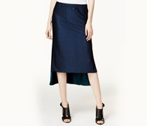 Dkny Reversible High-Low Midi Skirt, Navy/Blue teal