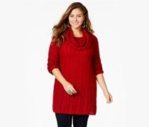 Womens Plus Size Long Sleeve Cowl Neck Top, Red