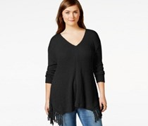 American Rag Plus Size Fringed V-Neck Sweat, Classic Black