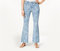 Nydj Petite Claire Chambray Leaf-Print Trouser Jeans, Palace Leaves