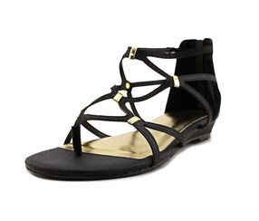 Thalia Sodi Pamella Strappy Demi Wedge Sandals, Black Metallic