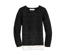 Textured Lace-Trim Sweater, Black
