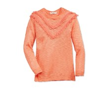 Pink Republic Fringe-Trim Sweater, Orange