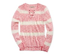 Pink Republic Striped Lace-Up Sweater, Ivory/Coral Beach