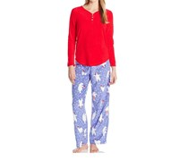 Hue Long Sleeve Henley Shirt Bear Print Pants Pajama Set