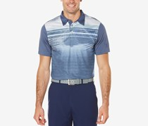 Pga Tour Men's Stripe Palm-Print Performance Polo, Blue