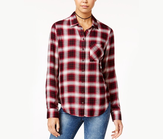 Polly & Esther Junior's Herringbone Plaid Shirt, Red/Black