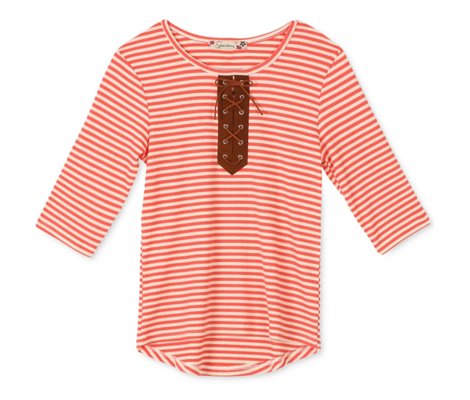 Speechless Girls' Stripe Lace-Up Top, Orange