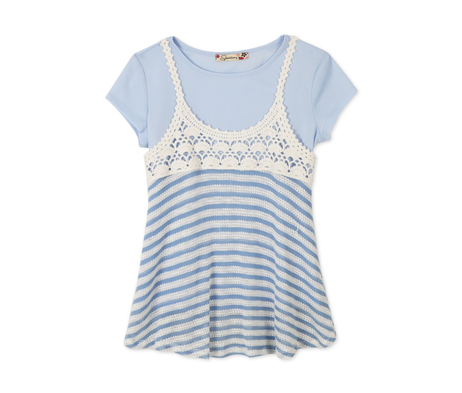 Speechless Crochet Trapeze Top T-Shirt, Pastel Blue