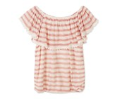 Speechless Striped Peasant Top, Pastel Pink