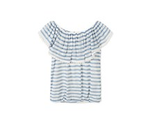 Speechless Striped Peasant Top, Pastel Blue
