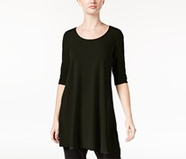 Eileen Fisher Three-Quarter-Sleeve Scoop-Neck Tunic, Charcoal/Black