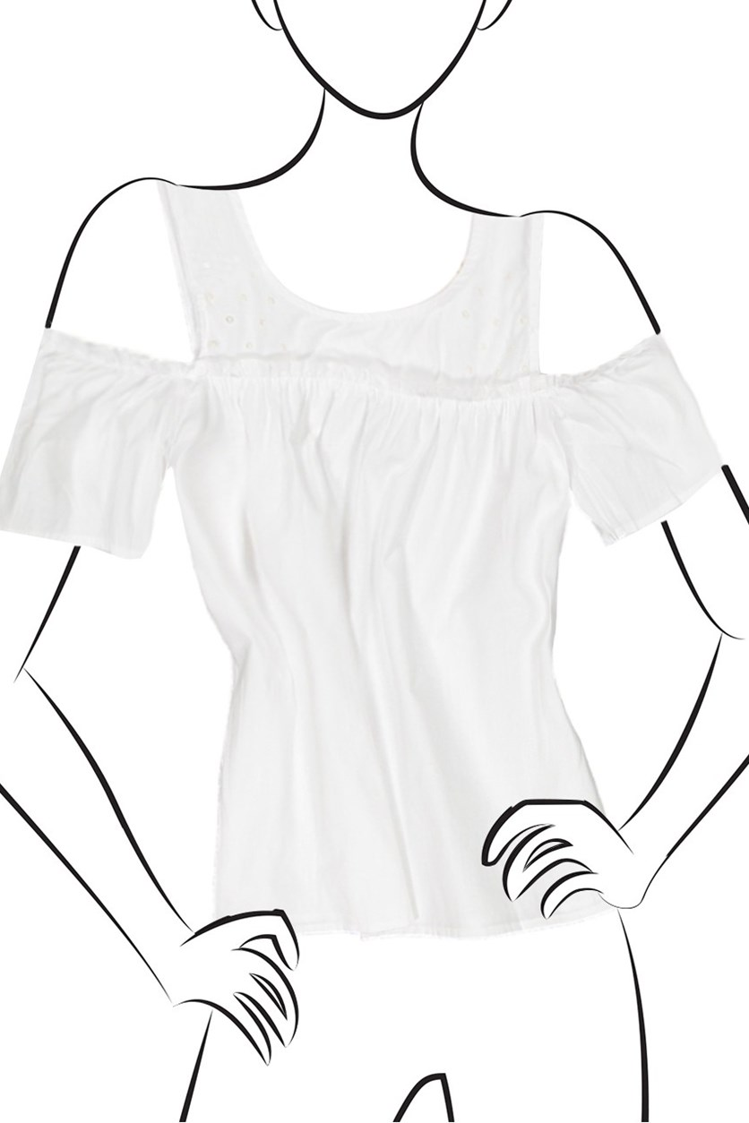 Cold Shoulder Ruffle Edge Top, White