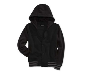 Ring of Fire Boys' Varsity Fleece Jacket,Black