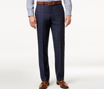Men's Slim-Fit Blue Flannel Glen Plaid Pants, Blue