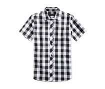 Ring of Fire Boys Mason Buffalo Plaid Shirt, Black/White