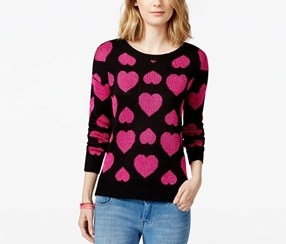 Rampage Juniors' Shine Bow Pullover Sweater, Black / Pink