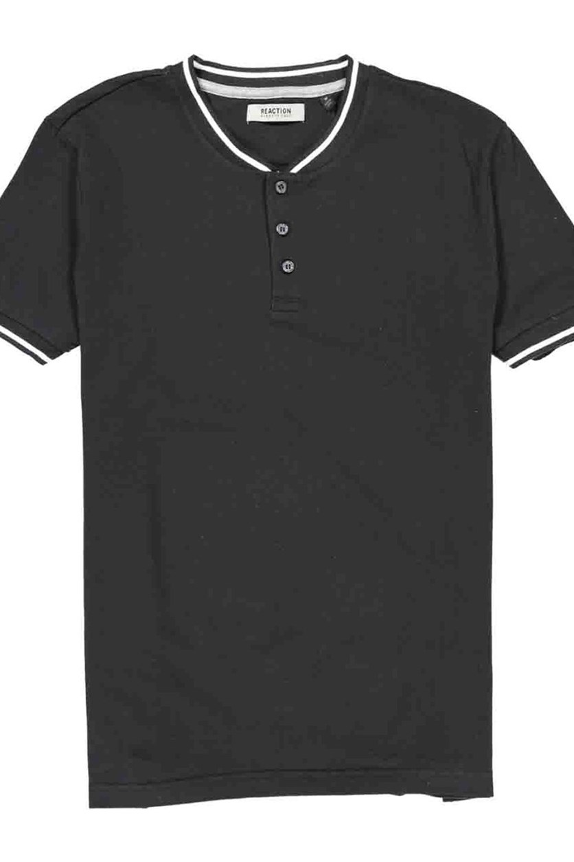 Men's Short Sleeve Pique Baseball Henley Top, Black