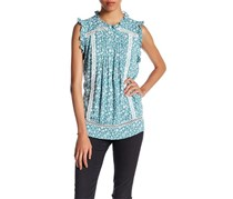 Romeo & Juliet Couture Floral Mock Neck Blouse, Sage Combo