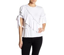 Romeo & Juliet Couture Ruffle & Tie Knit Tee, White