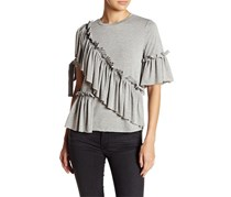 Romeo & Juliet Couture Ruffle & Tie Knit Tee, Heather Grey