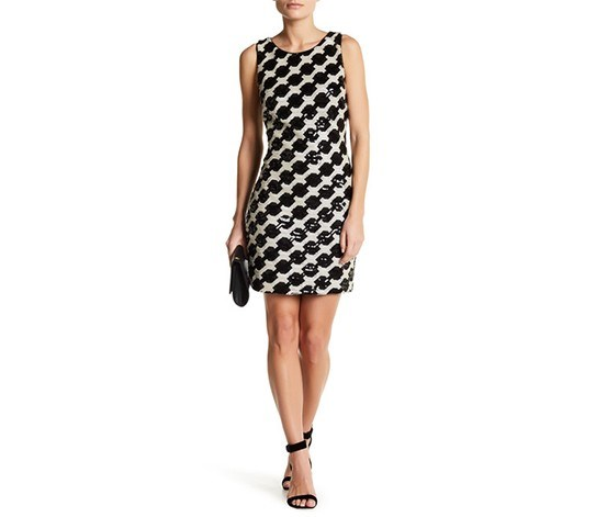 Women's Geometric Sequins Mini Dress, Black