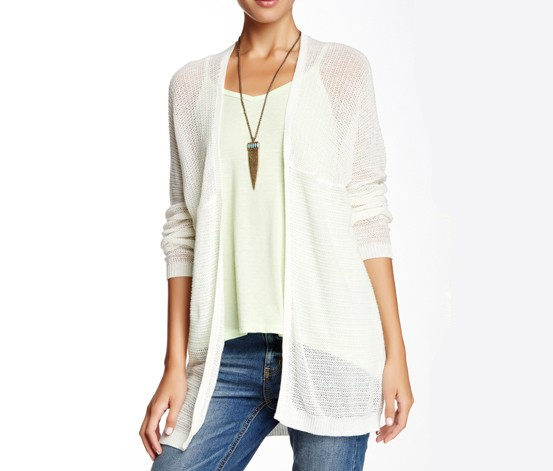 Lightweight Stripe Blanket Cardigan,White