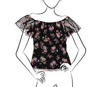 No Comment Ladies Knit Printed Off The Shoulder Flounce Top, Black