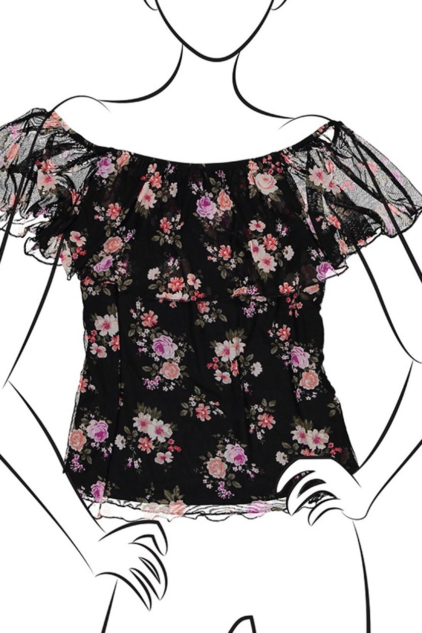 Ladies Knit Printed Off The Shoulder Flounce Top, Black