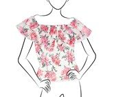 No Comment Ladies Knit Printed Off The Shoulder Flounce Top, Peony Tulip/Bouquet White