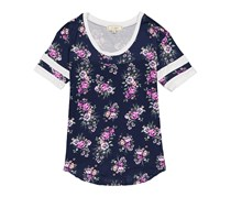 No Comment Ladies Knit Jersey Shirttail Football Tee, Mysterious Floral Maritime