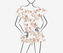 No Comment Ladies Yummy Knit Off-the Shoulder Flounce Romper, Rambling Rose Gardenia/Rose