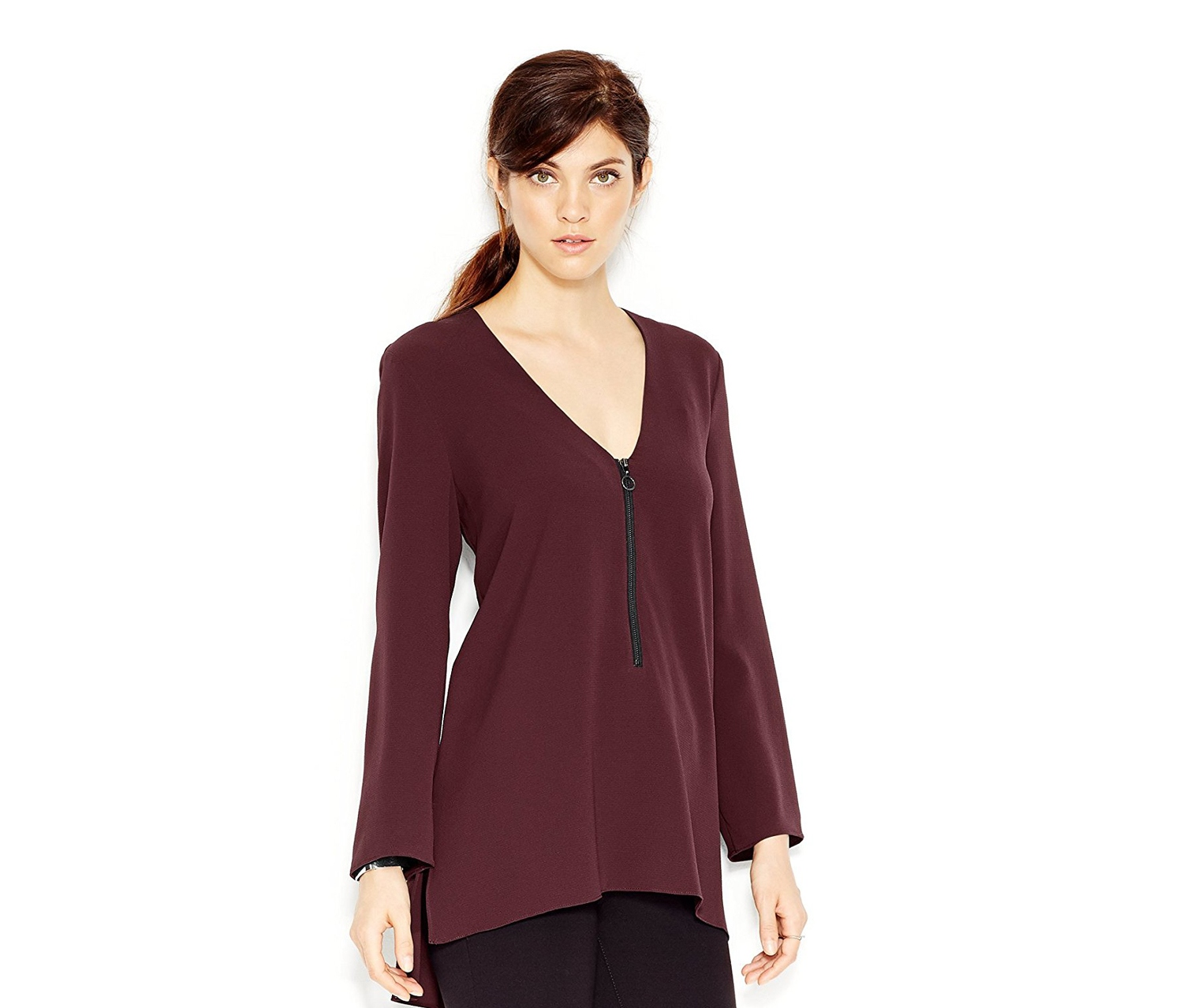 Women's High-Low Zip-Front Tunic,Bourdeaux
