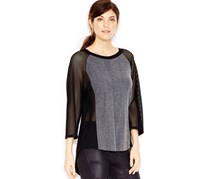 Rachel Roy Mesh Contrast Top , Charcoal
