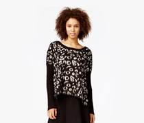 Rachel Roy Women's Animal-Print Sweater,Black
