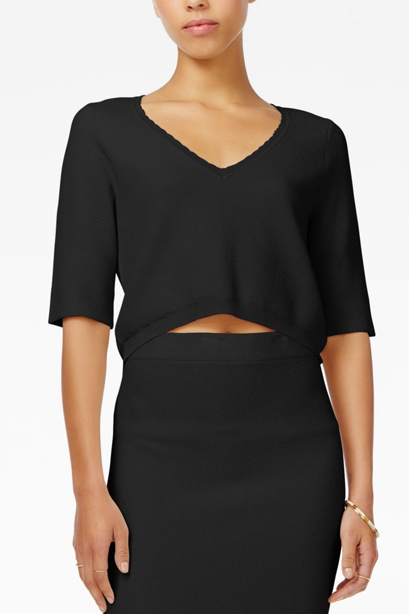 V-Neck Crop Top, Black