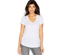 Rachel Roy Short-Sleeve V-Neck Solid Tee, White